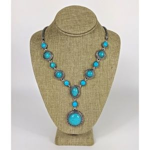 Western Concho Faux Turquoise Necklace